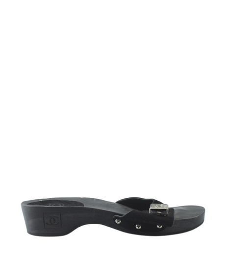 Chanel Suede Silver-tone Pre-owned Spain Black Sandals