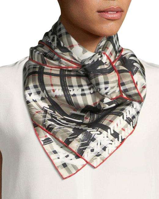Item - White Silk Twill Scribble Vintage Check Scarf/Wrap