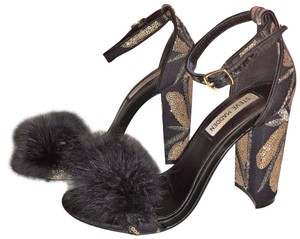 Steve Madden Ostrich Feather Chunky Ultra High Dragon Fly black Pumps