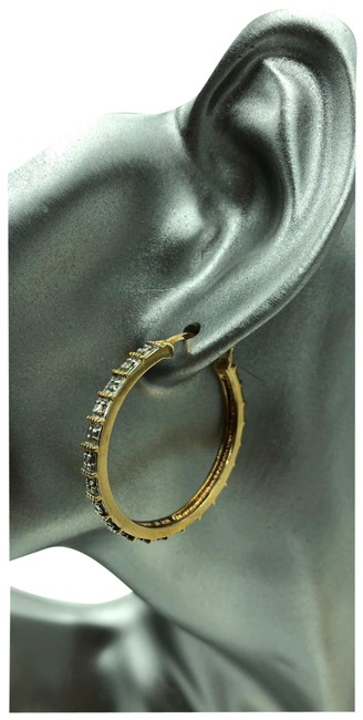 Gold and Silver Over Diamond Hoop Earrings Image 1