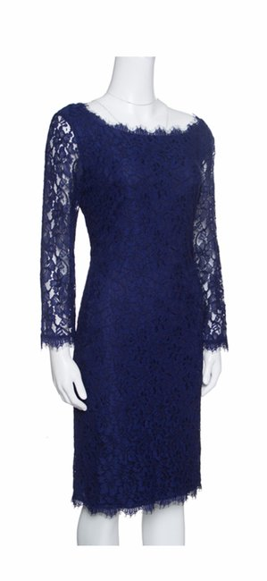 Diane von Furstenberg Midnight Blue Zarita D2373973e00 Mid-length Cocktail Dress Size 4 (S) Diane von Furstenberg Midnight Blue Zarita D2373973e00 Mid-length Cocktail Dress Size 4 (S) Image 1