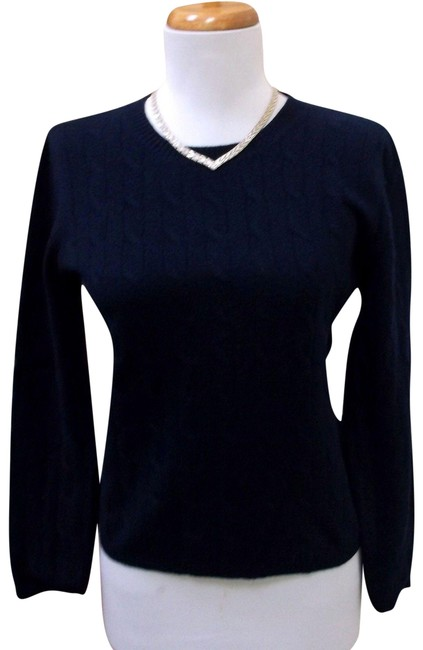 Preload https://img-static.tradesy.com/item/24624913/cashmere-crewneck-cableknit-navy-blue-sweater-0-1-650-650.jpg