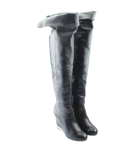 Chanel Over The Knee Leather Silver-tone Pre-owned Italy Black Boots Image 1