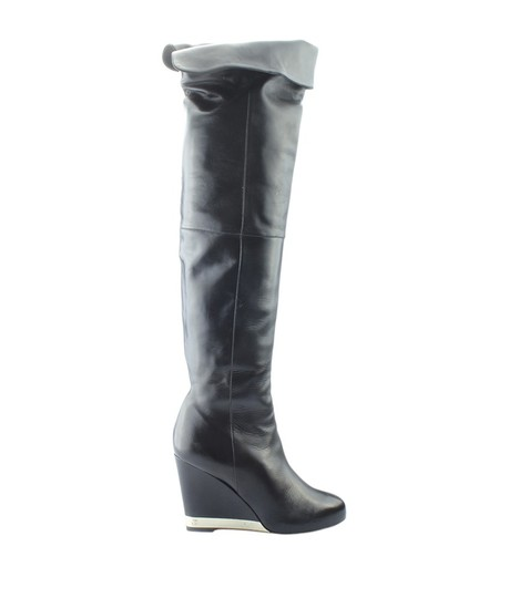 Chanel Over The Knee Leather Silver-tone Pre-owned Italy Black Boots Image 2
