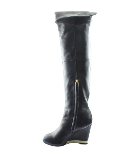 Chanel Over The Knee Leather Silver-tone Pre-owned Italy Black Boots Image 3
