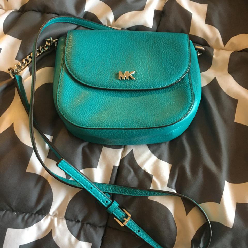 4466dff689ef MICHAEL Michael Kors Half Dome Tile Blue Pebbled Leather Cross Body ...