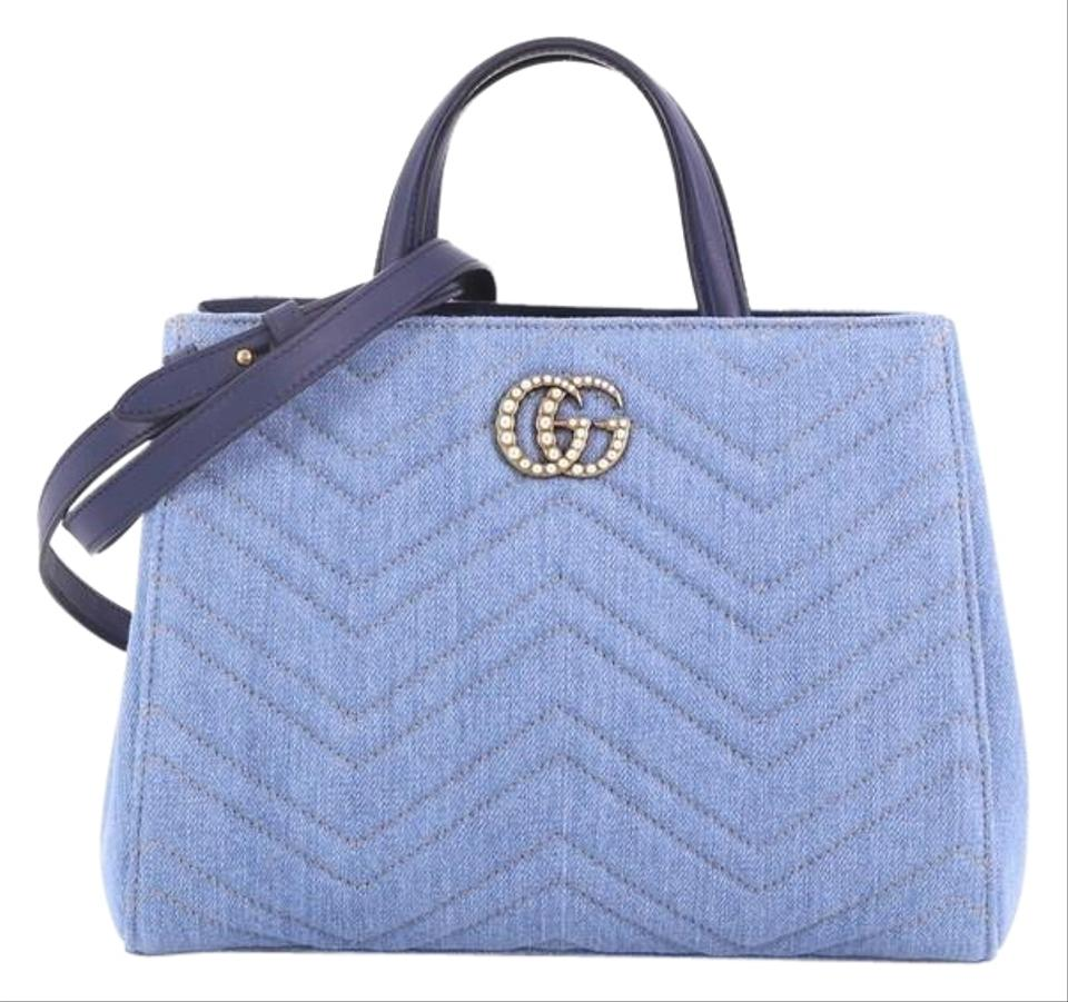 dc58c38a4760 Gucci Marmont Pearly Matelasse Denim Small Blue Leather Tote - Tradesy