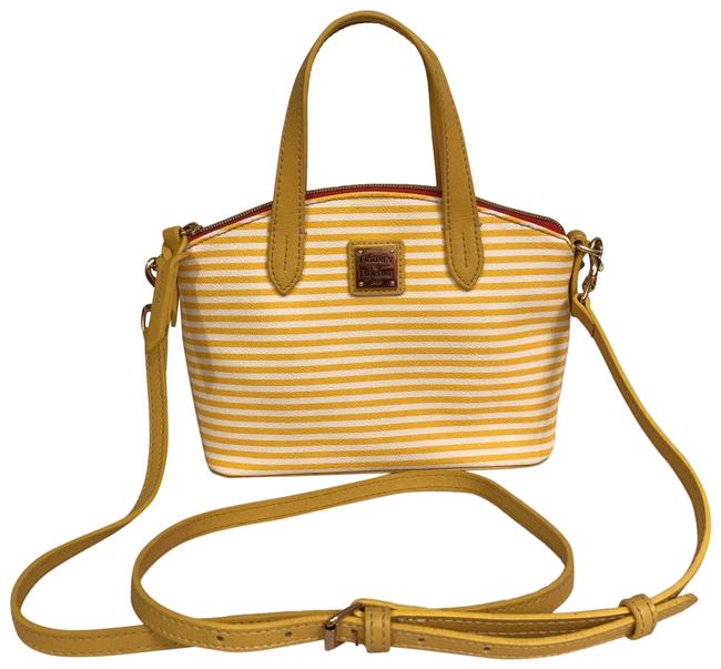 Item - Rudy Bitsy Striped White Yellow Faux Leather Satchel