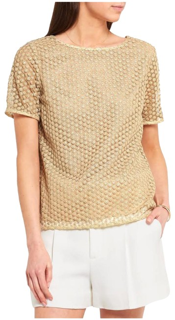 Item - Gold Brylee Metallic Lace Blouse Size 4 (S)