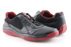 Prada Multicolor Ala Leather Black Red Sneakers Shoes