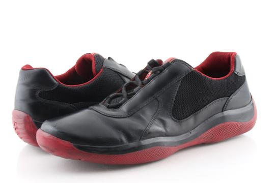 Prada Multicolor Ala Leather Black Red Sneakers Shoes Image 1