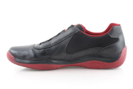 Prada Multicolor Ala Leather Black Red Sneakers Shoes Image 3