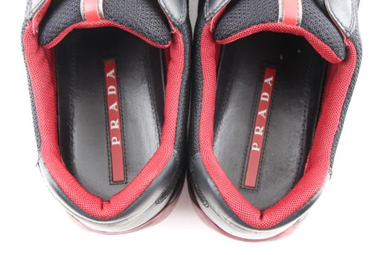 Prada Multicolor Ala Leather Black Red Sneakers Shoes Image 7