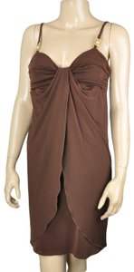 Max and Cleo Tulip Gold Ruched Draped Dress
