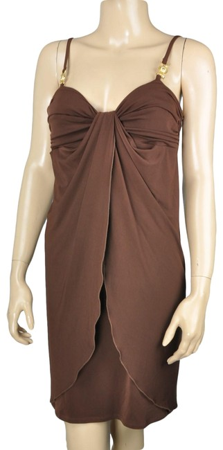 Max and Cleo Brown & Gold Ruched Tulip Short Formal Dress Size 6 (S) Max and Cleo Brown & Gold Ruched Tulip Short Formal Dress Size 6 (S) Image 1