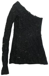 Calvin Rucker Lace One Sleeve Blouse Top black