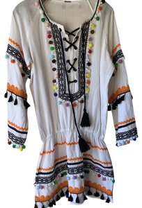DODO BAR OR short dress multi color palms but actual dress is white on Tradesy