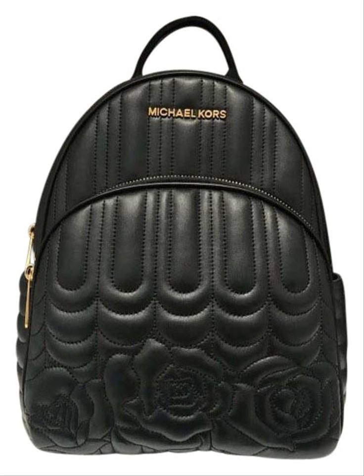 f7a937d59b Michael Kors Abbey Medium Quilted Floral Black Leather Backpack ...