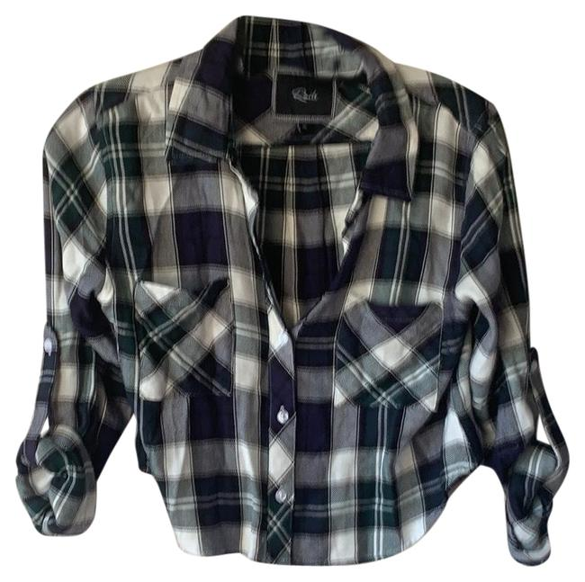 Item - Na Plaid: White Blue Green Top