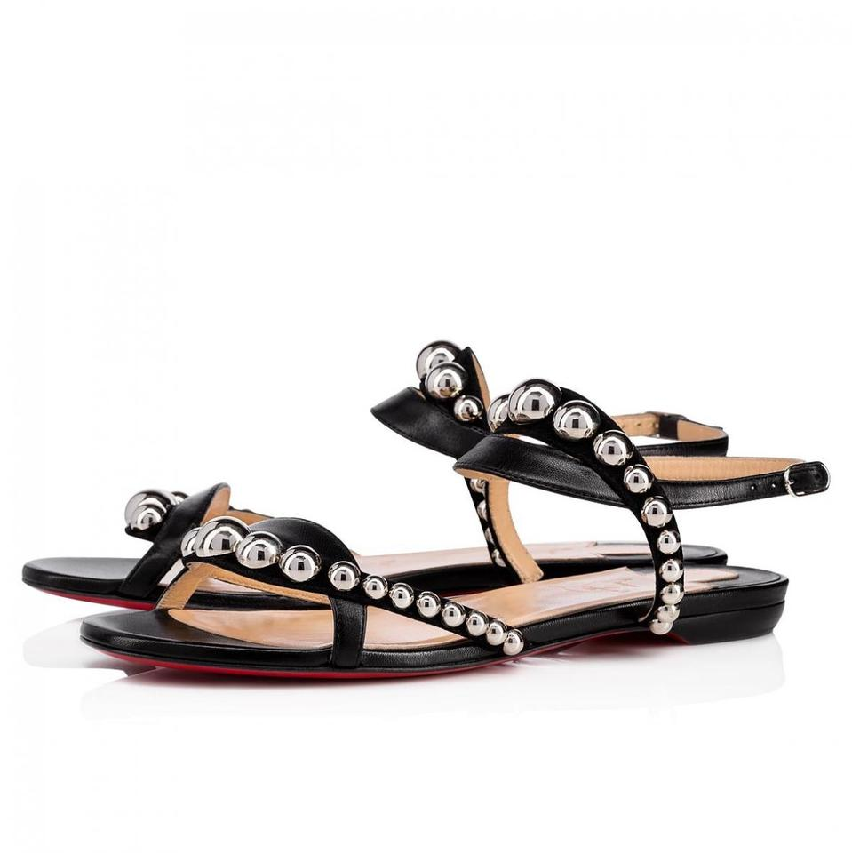 new arrival ccec9 96c45 Christian Louboutin Black Galeria Studded Leather Ankle Strap Strappy Flat  Sandals Size EU 35.5 (Approx. US 5.5) Regular (M, B) 26% off retail