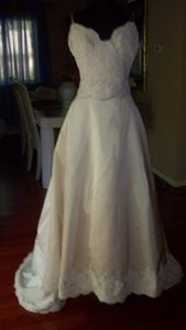 Monique Lhuillier Ivory Silk Satin Jacqueline Formal Wedding Dress Size 6 (S)