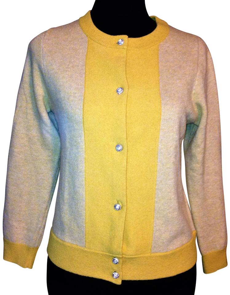 361981629eaf J.Crew Mustard Yellow Color Block Cashmere Wool Blend Rhinestone ...