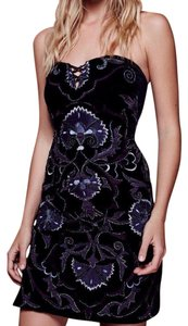 Free People Velvet Strapless Embroidered Embellished Sweetheart Dress