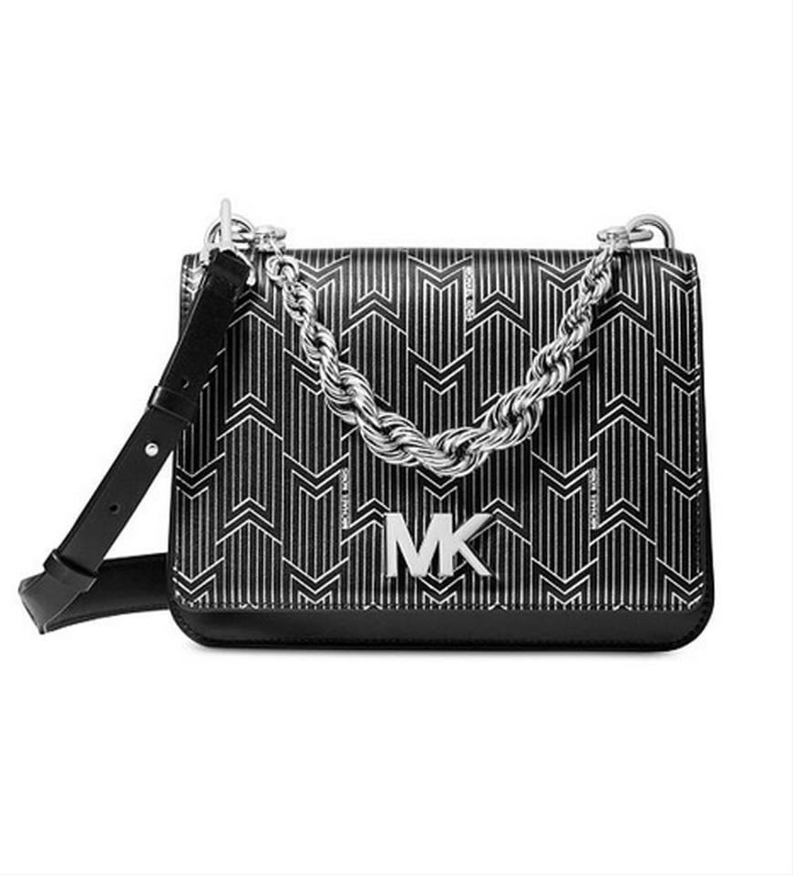 4ac5e374bf2d Michael Kors Mott Metallic Deco Chain Swing Shoulder Sloan Silver Black  Leather Satchel