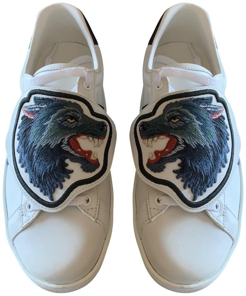 c0d540dad37 Gucci White with Blue and Red Stripe Ace Sneaker Removable Patches ...