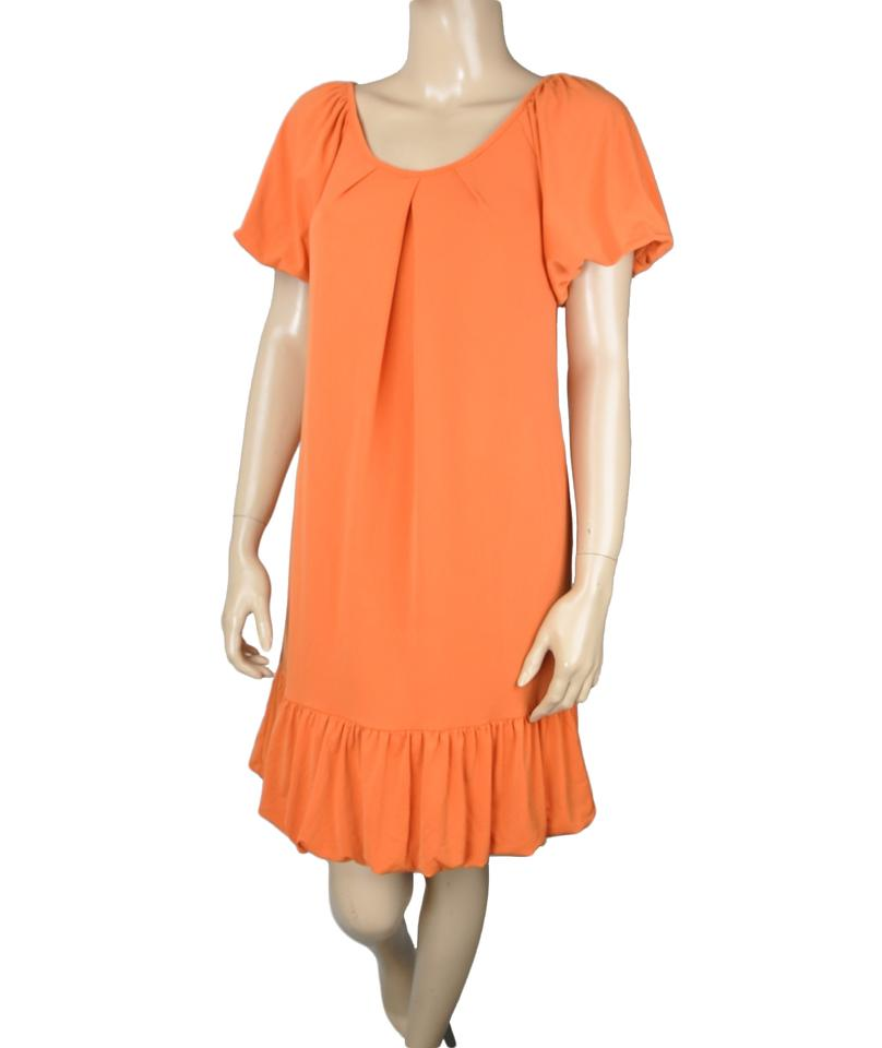Max And Cleo Orange Ruffle Shift Short Casual Dress Size 12 L