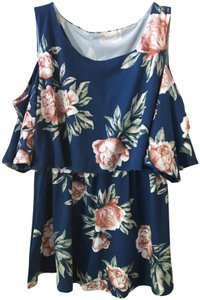 N/A Blue Floral Cold Shoulder Lift Up Style Nursing Top