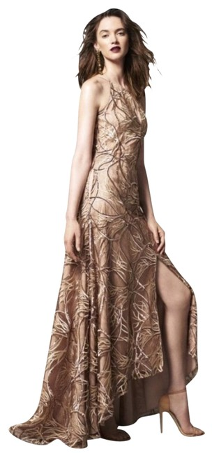 Item - Brown Halter Sequin and Lace Long Formal Dress Size 8 (M)