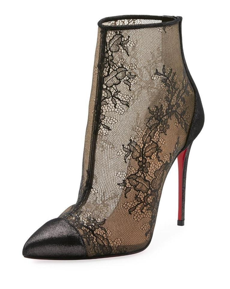 14da914fe1d Christian Louboutin Black Gipsybootie Gipsy 100 Floral Lace Ankle ...