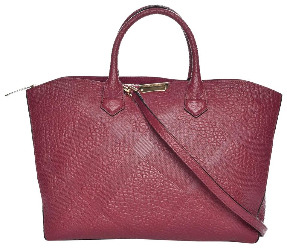 9cbc6b91ce59 Burberry Medium Dewsbury Dark-plum Pink Leather Tote - Tradesy