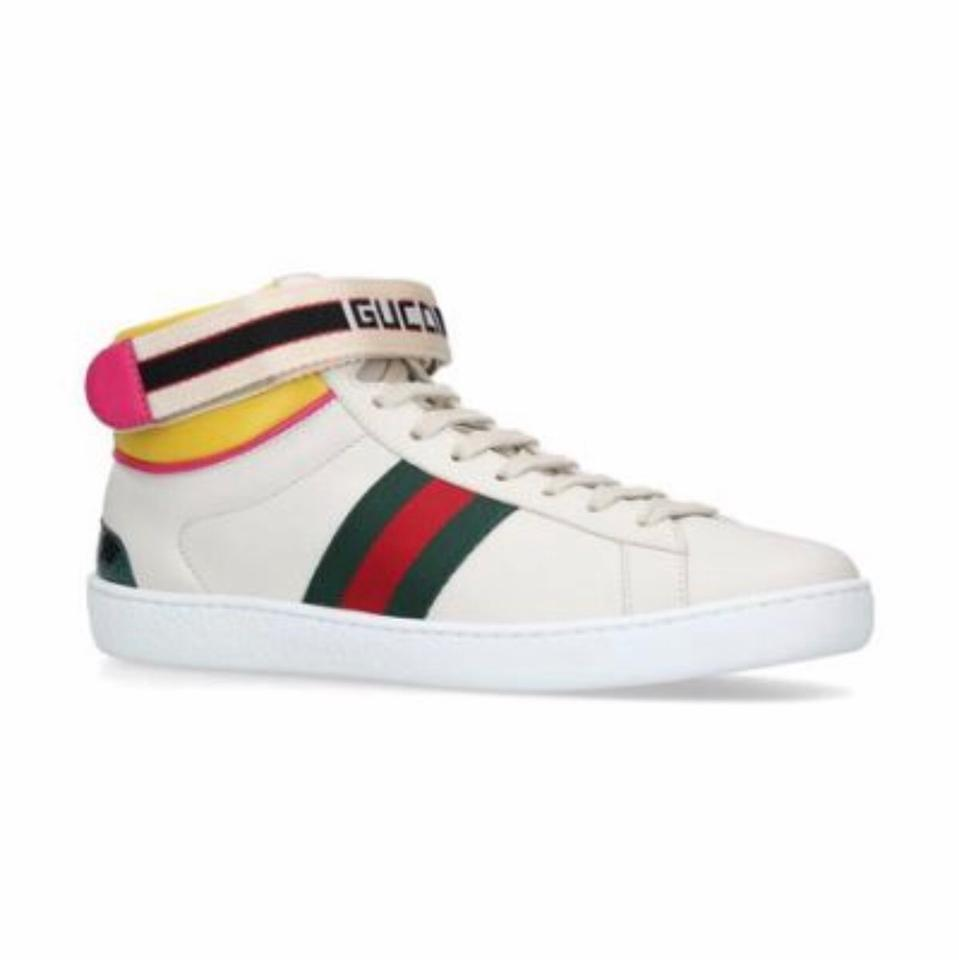 6371492372c Gucci White Red Green New Ace High Leather Sneaker with Strap Sneakers