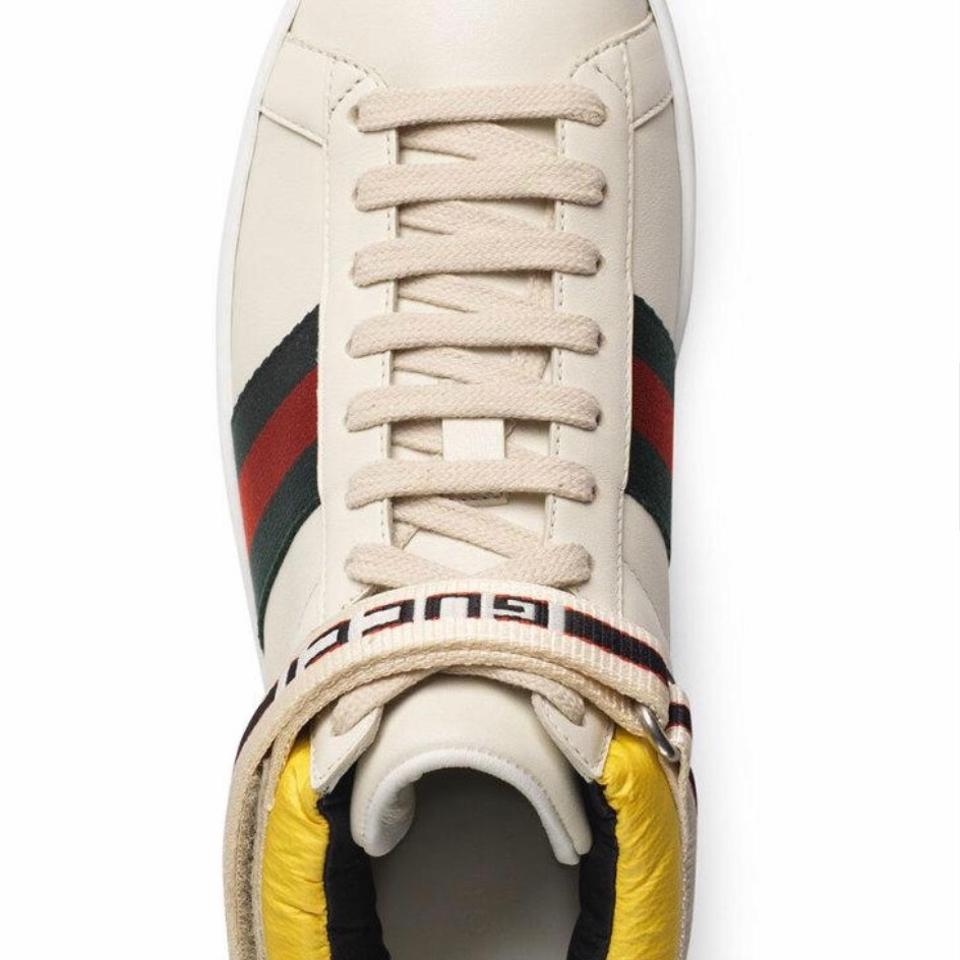 1abafbc4c232 Gucci White Red Green New Ace High Leather Sneaker with Strap ...