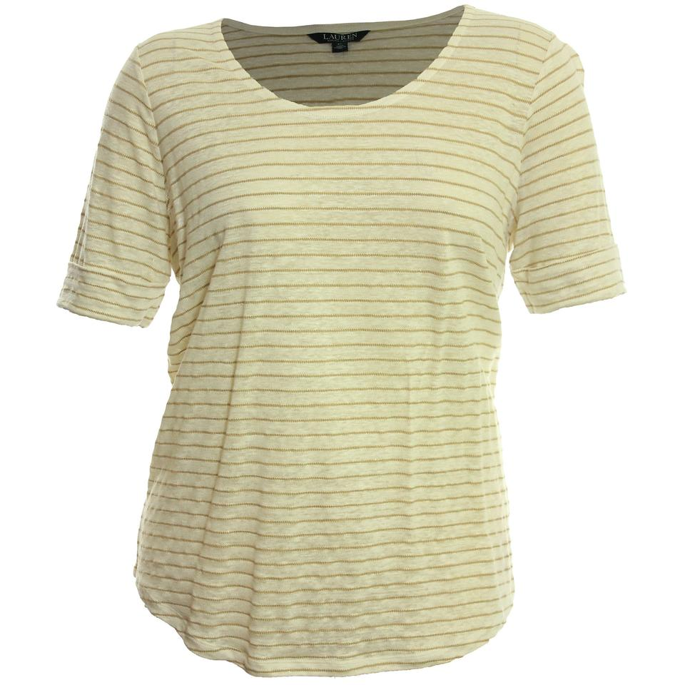 439c28249 Lauren Ralph Lauren 2x Plus Size Linen Striped T Shirt Pearl   Tan Image 0  ...