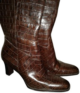 Ralph Lauren Faux Croc Look Rl Tussels Leather Brown Boots