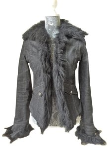 Gianfranco Ferre Distressed Crystal Studded Faux Fur Black Womens Jean Jacket