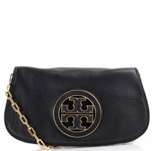 Tory Burch Classic Pebbled Logo Gold Hardware Party Black Clutch