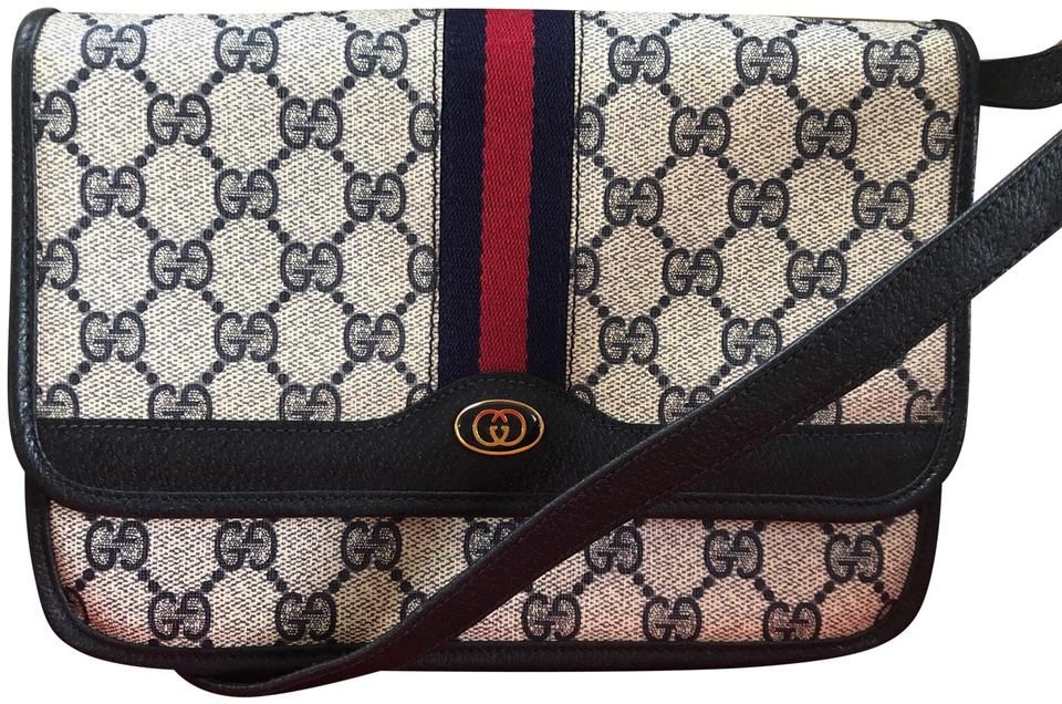 9f4327bc5 Gucci Clutch 3 In 1 Rare Vintage Web Navy Leather Monogram Chain Crossbody  Blue Canvas Shoulder Bag