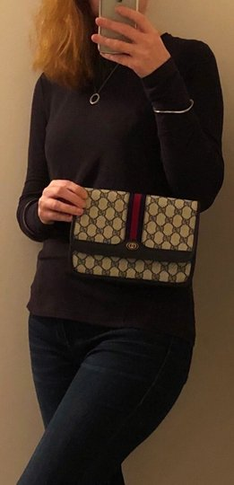 Gucci Made In Italy Monogram Leather Vintage Blue Clutch