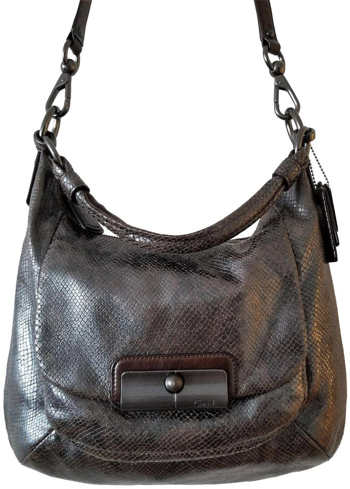 3e93e6adaf5d Coach 18306 Kristin Python Embossed Shoulder Hobo Brown Black ...