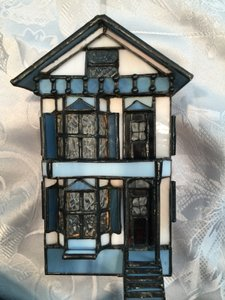 Blue Stained Glass Lighted Townhouse Decoration