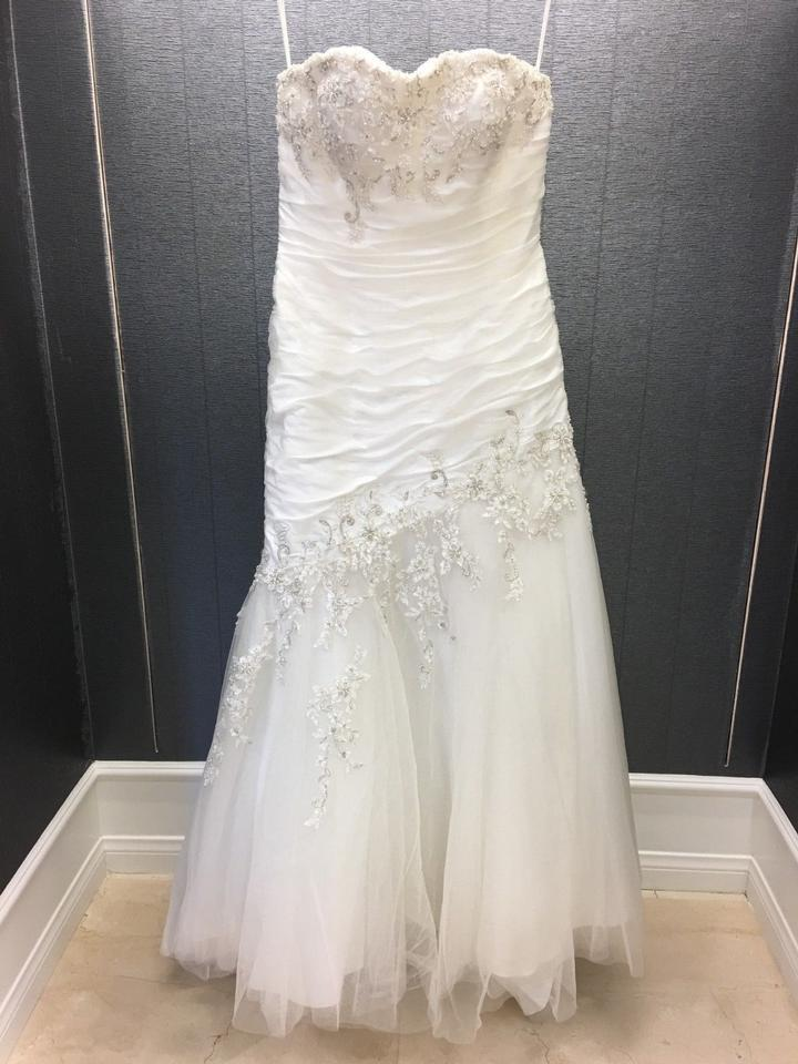 Ivory/Silver Tulle Lace Pleated Strapless