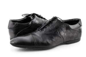 Louis Vuitton Black Damier Embossed Leather Lace Up Oxfords Shoes