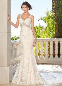 KittyChen Couture Lace W Candice Ivory & Champagne Embellished Gown Train Sexy Wedding Dress Size 8 (M)