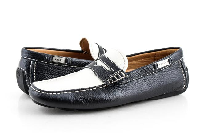 Item - Multicolor Navy Blue White Leather Driver Shoes