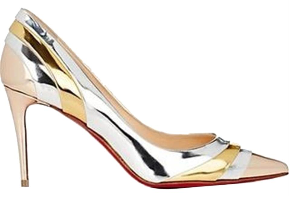 c431ad6782f4 Christian Louboutin Metallic Eklectica 85 Striped Mirrored Leather Heels  Pumps