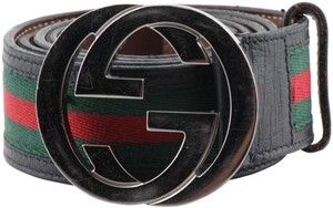 Gucci Gucci Calfskin Web Interlocking G Belt